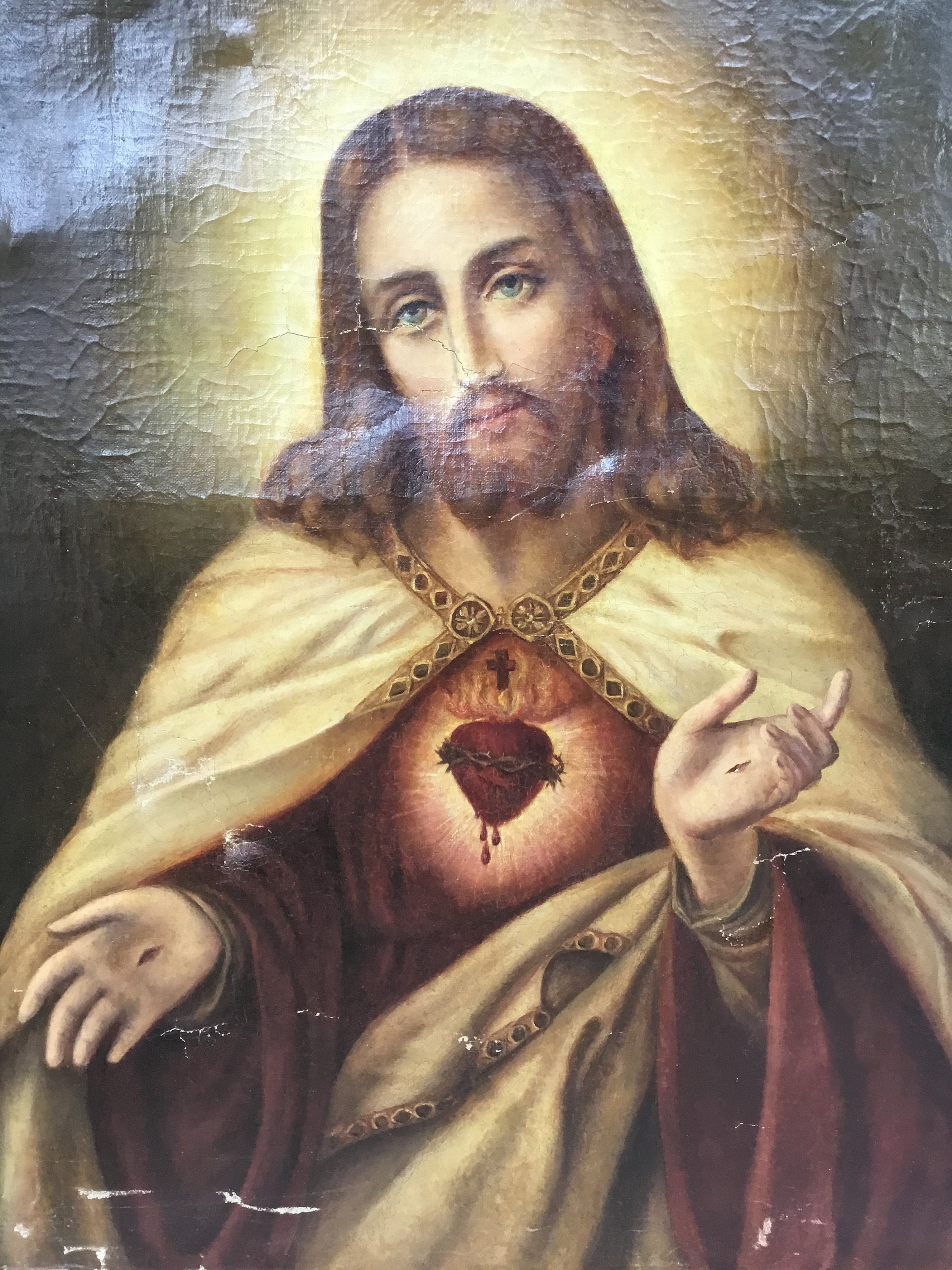 Antique Christ Oil Painting Ethereal Antique French Oil On Canvas