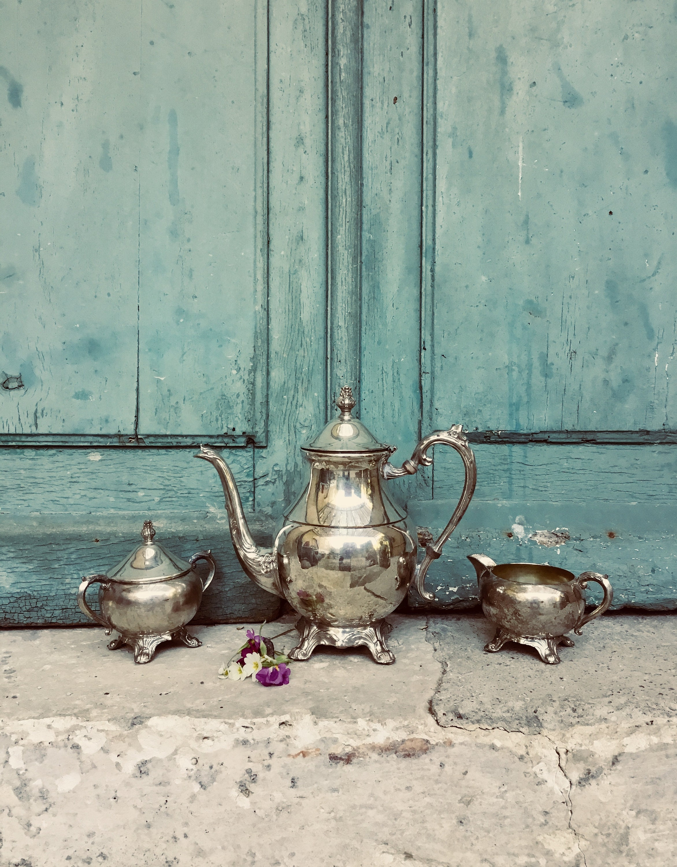 Silver Tea Set A Darling Shabby Chic Vintage French Silver Plate Coffee Tea Service