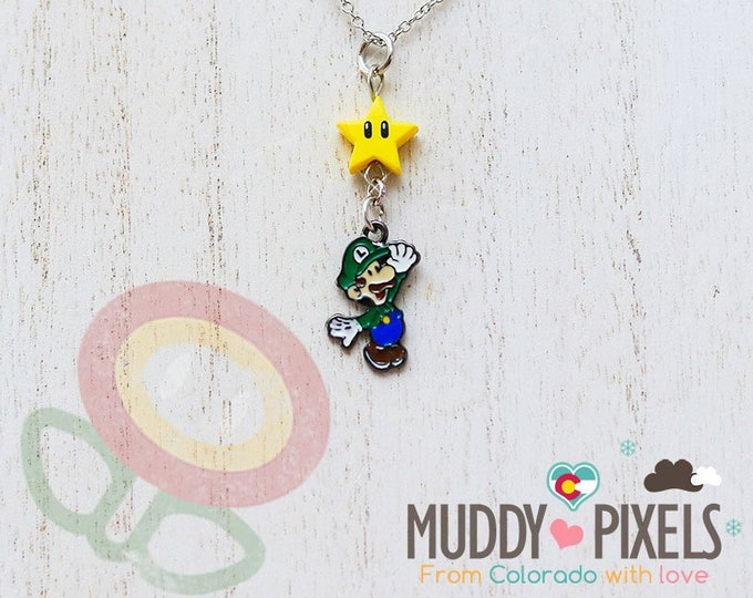 Very Petite Mario Bros Necklace featuring Luigi and Star Combo!