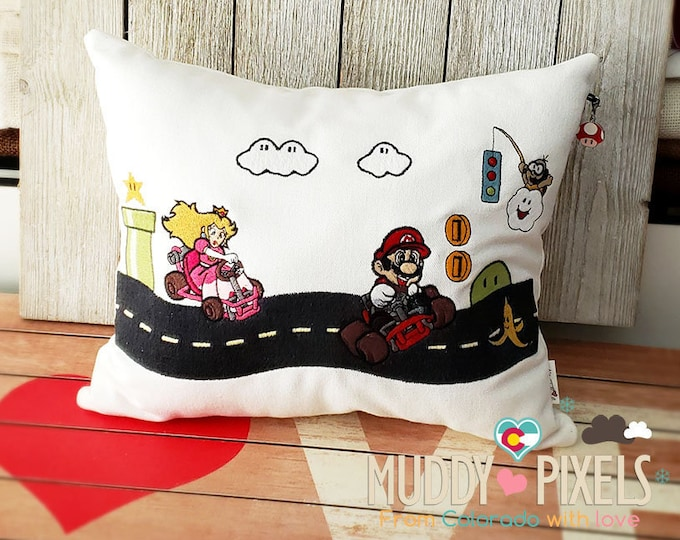Rare Cute Mario Kart Pillow With Charm - Hand Drawn Design!