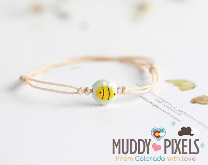 Cute little boho style tiny ceramic painted bee bracelet or anklet!