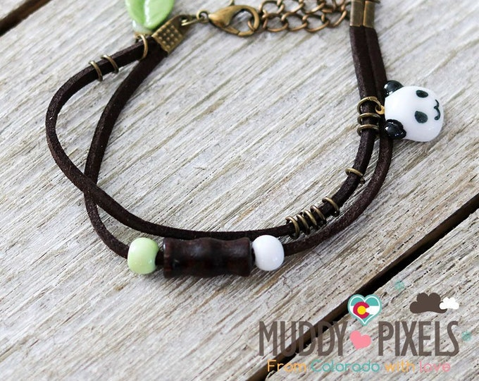 Cute little boho style ceramic panda bracelet or anklet!