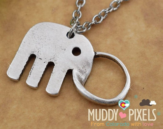 Unique Rustic antique or vintage style Bent Metal Elephant necklace!
