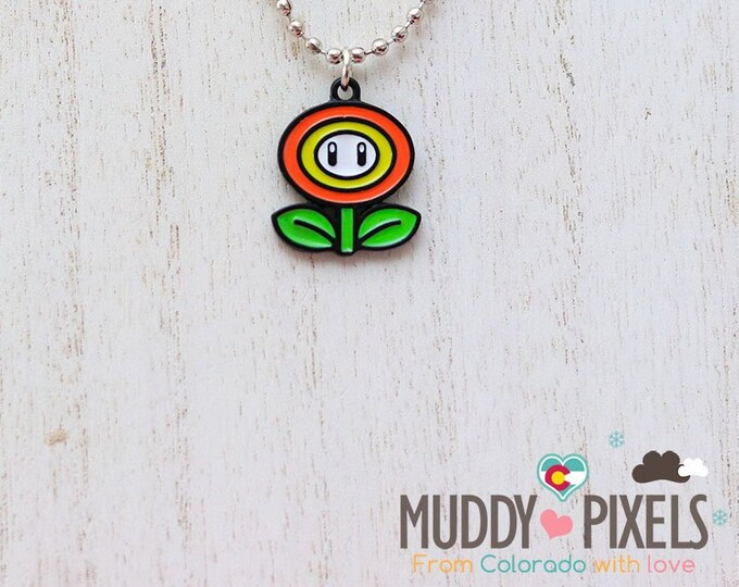 Mario Bros Necklace featuring Fire Flower in black setting