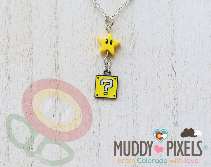 Very Petite Mario Bros Necklace featuring Question Block and Star Combo!