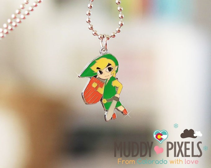 Kawaii enamel Zelda Link necklace