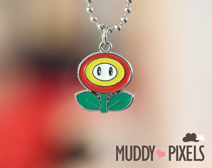 Mario Bros Necklace featuring Fire Flower