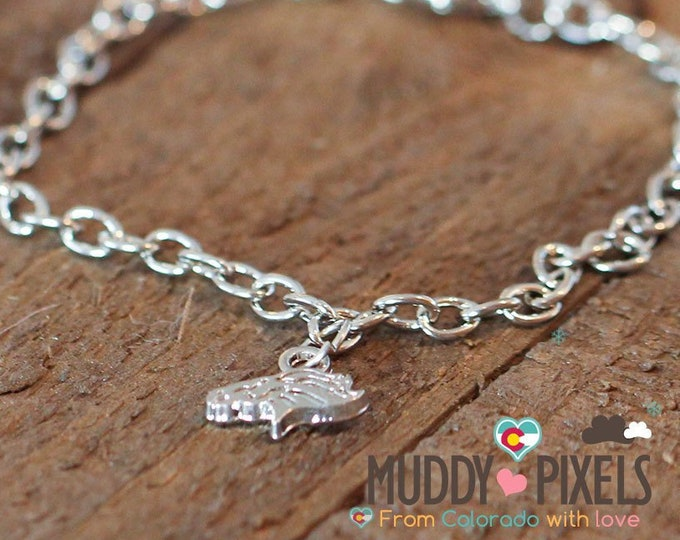 Tiny Denver Broncos Logo Silver Bracelet or Necklace! Very cute!