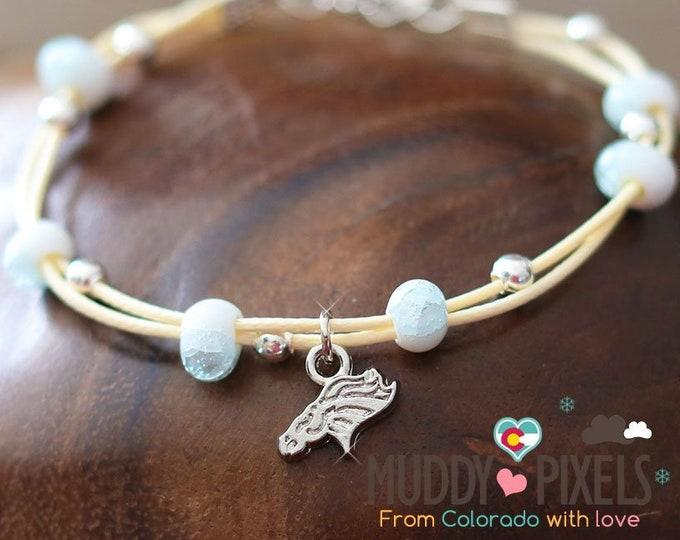 Petite! Denver Broncos Logo Silver charm on an ombre beaded bracelet or anklet