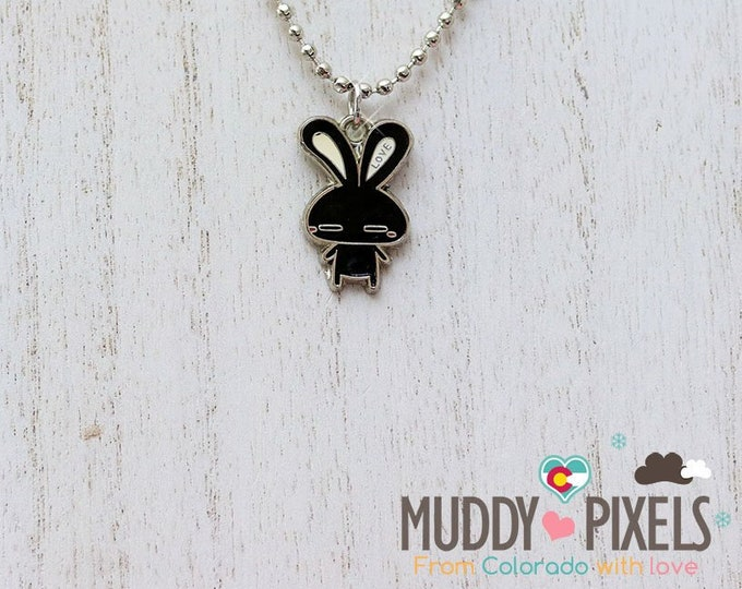 Rare! Black Love Rabbit Enamel Charm Necklace!