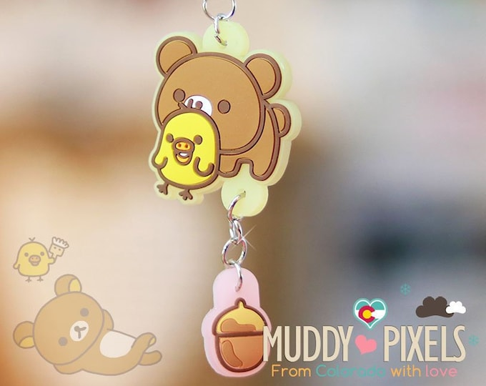 Rare! Unique Adorable Rilakkuma and Kiiroitori double charm Key Chain