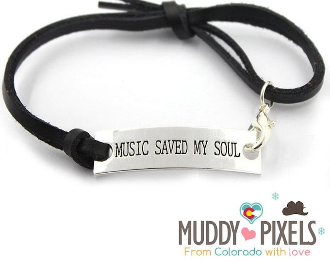 Music saved my soul corded bracelet with lobster clasp