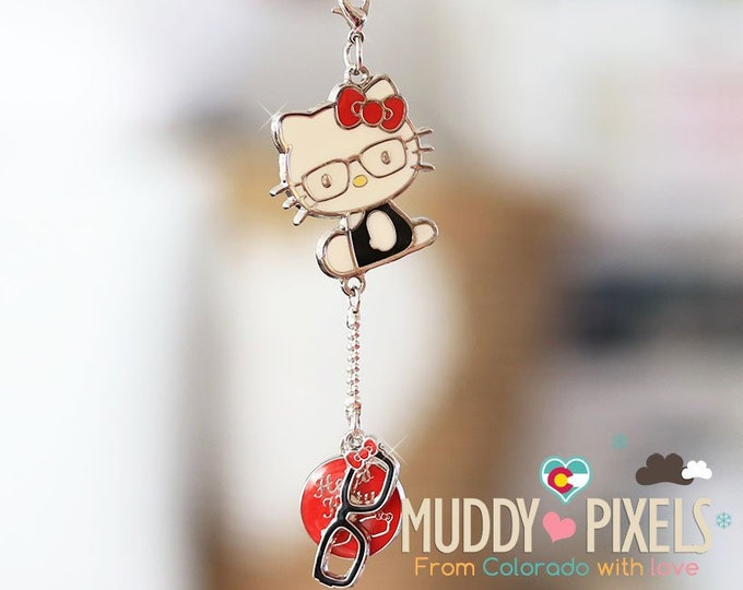 Rare! Discontinued Unique Hello Kitty Nerd charm KeyChain - Licensed