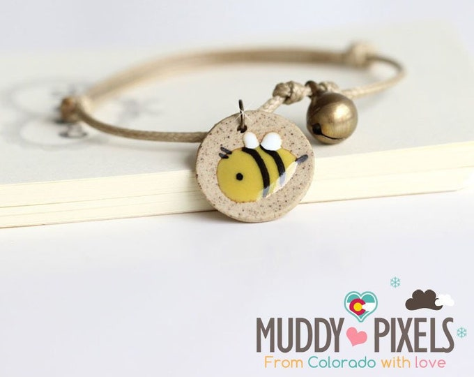 Cute little boho style ceramic painted bee bracelet or anklet!