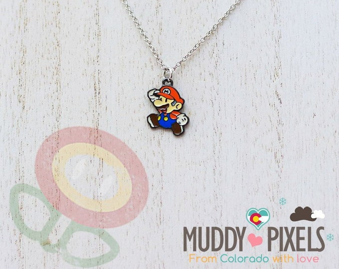 Very Petite Mario Bros Necklace featuring Classic Mario in black setting
