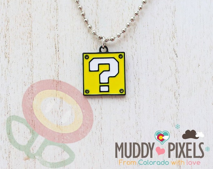 Mario Bros Necklace featuring Question Block in black setting