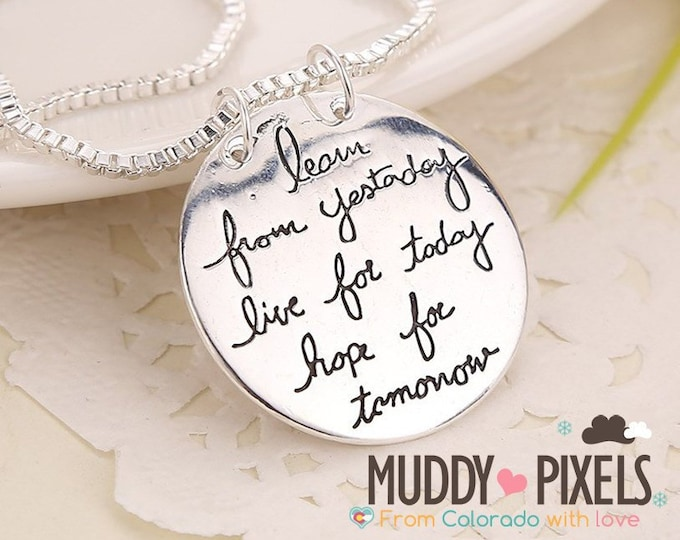 Live for today Double sided enamel Stamped Necklace