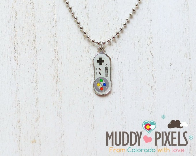 Retro Nintendo NES SNES Controller double sided acrylic necklace