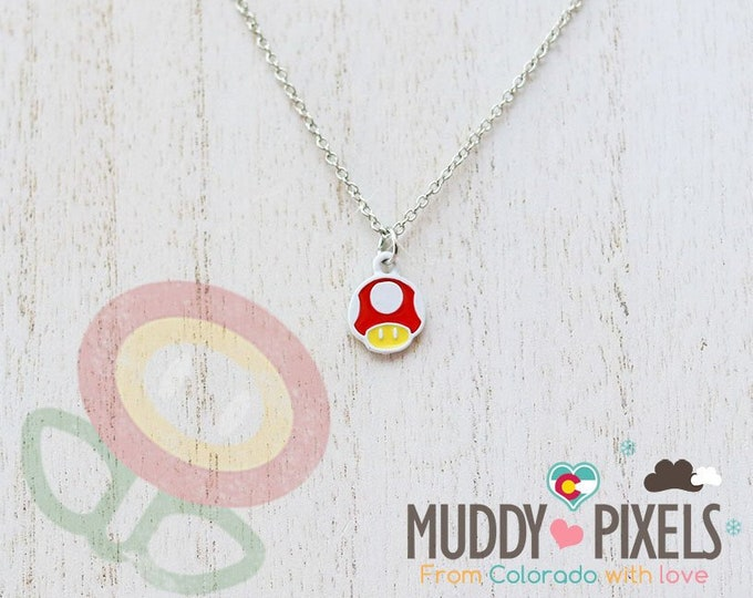 Very Petite Mario Bros Necklace featuring Super Mushroom in white setting