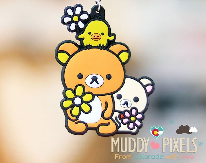 Rare! Unique Adorable Rilakkuma and Korilakkuma KeyChain double sided