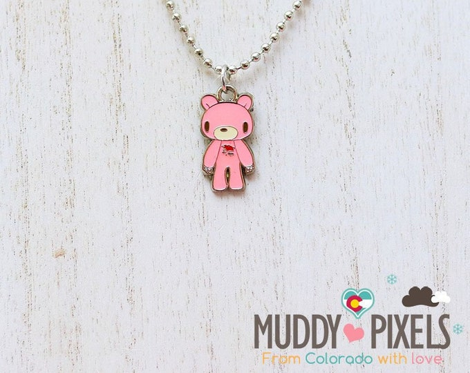 Rare! Gloomy Bear Enamel Charm Necklace!