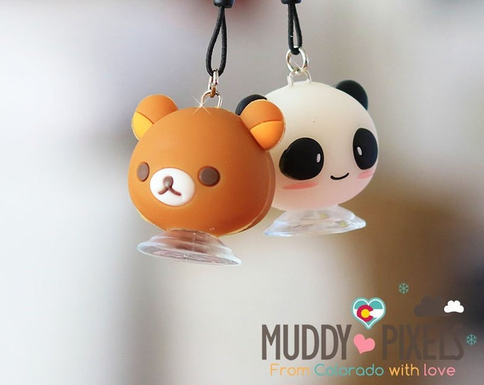 Rare! Unique Adorable Rilakkuma or Panda Phone Holder charm