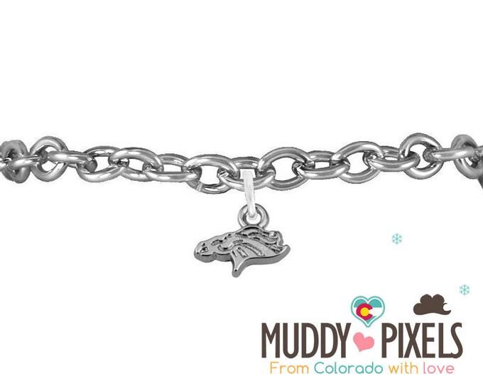 Tiny Denver Broncos Logo Silver Necklace or Bracelet! Very cute!