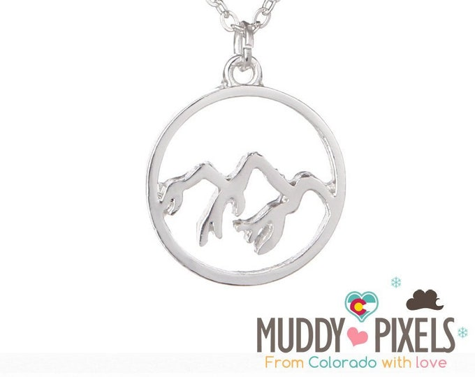 Beautiful round Colorado Snow Peak Mountain Pride Necklace jagged