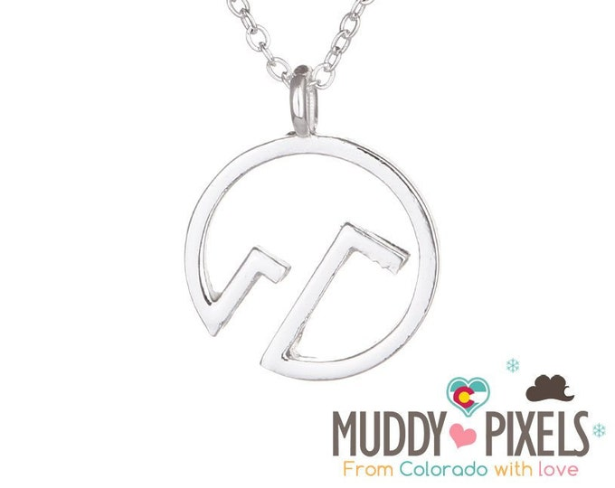 Beautiful round Colorado Snow Peak Mountain Pride Necklace straight