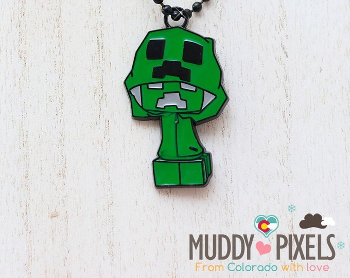 Unique Minecraft Creeper Large Pendant or Keychain (You choose!) in black setting