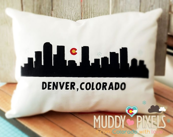 Denver Colorado Skyline Pillow With Charm - Color Series