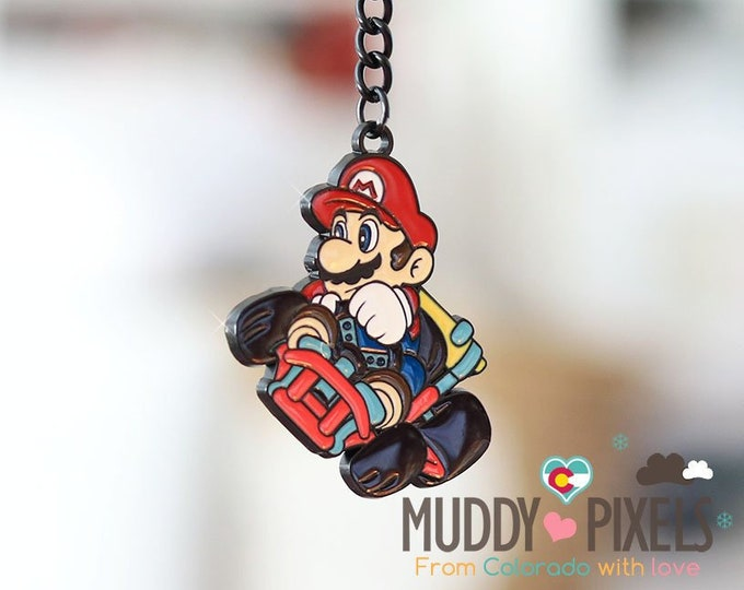 Unique! Nintendo Mario Kart Mario Enamel Keychain in black metal setting