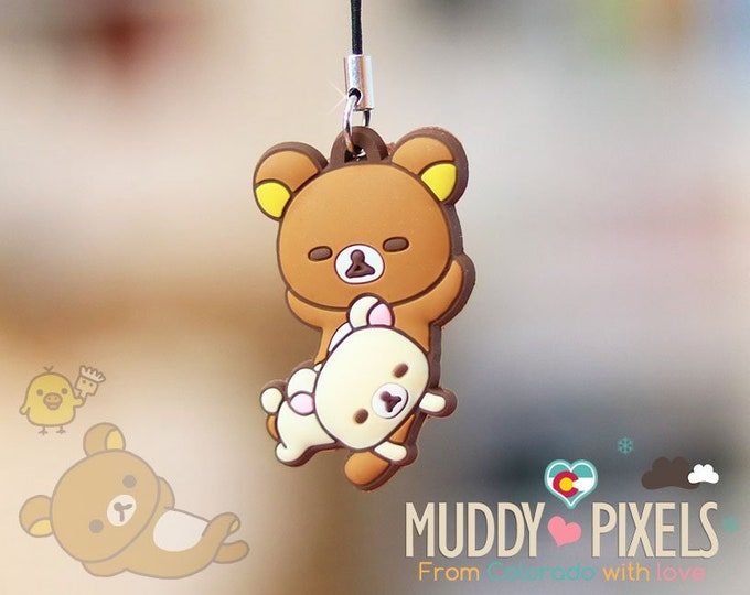 Rare! Unique Adorable Rilakkuma Sleepy charm Key Chain Zipper Pull