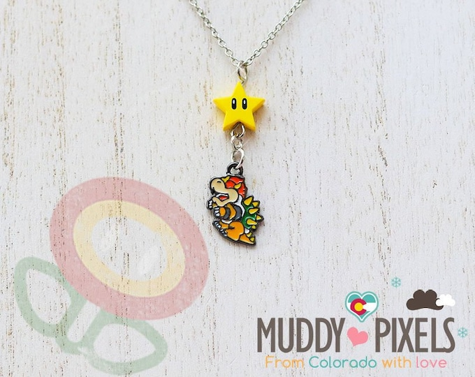 Very Petite Mario Bros Necklace featuring Bowser and Star Combo!