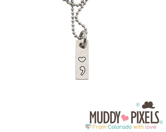 Tiny Heart Semicolon Stamped Awareness Dog Tag Necklace - Pause Depression Mental Health
