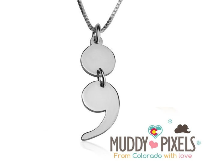 Beautiful Large Jointed Semicolon Awareness Necklace - Pause Depression Mental Health