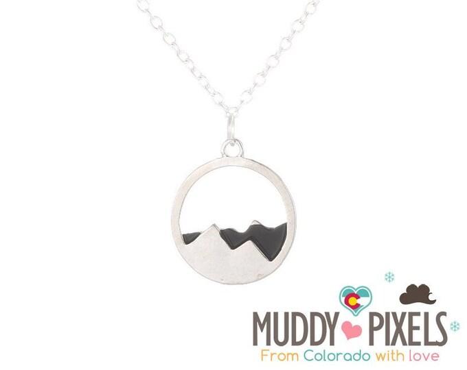 Medium Round Metal Colorado Mountain Pride Necklace