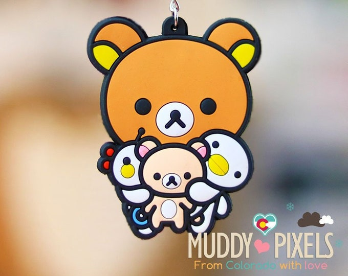 Rare! Unique Adorable Rilakkuma and friends KeyChain double sided