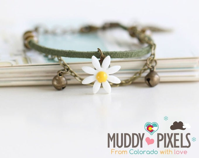 Beautiful boho style colorful ceramic double beaded bracelet or anklet with flower!