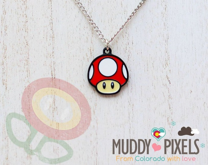 Mario Bros Necklace featuring  Super Mushroom in black setting
