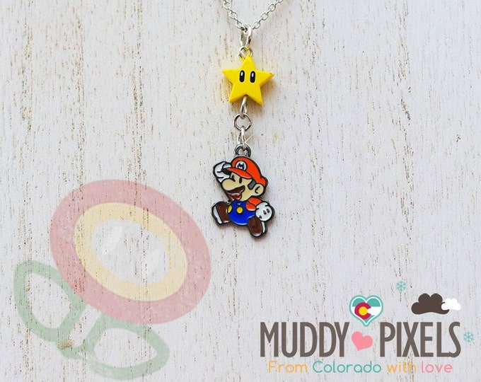 Very Petite Mario Bros Necklace featuring Mario and Star Combo!