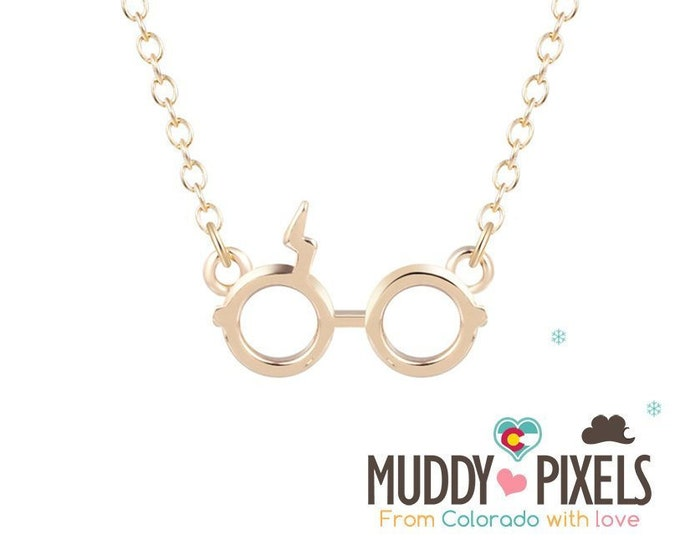 Tiny Wizard Glasses Necklace U Choose Finish