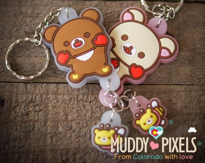 Rare! Unique Adorable Rilakkuma double charm KeyChain