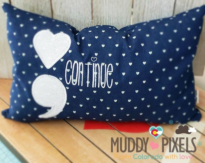 Cute Hearts Semi Colon Awareness Themed Small Pillow with Charm!