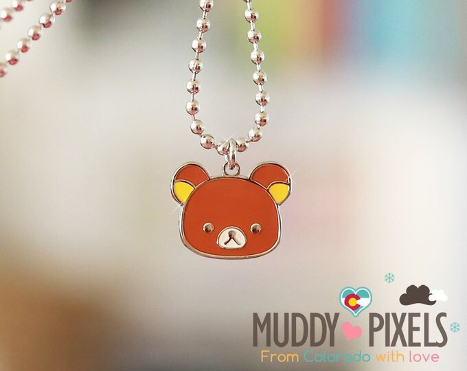 Rare! Rilakkuma Head Enamel Necklace! Korilakkuma and Friends