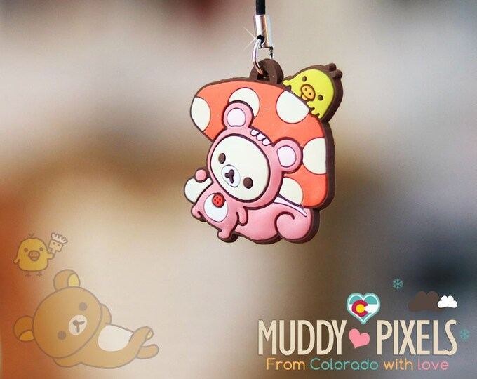 Rare! Unique Adorable Korilakkuma Squirrel charm Key Chain Zipper Pull