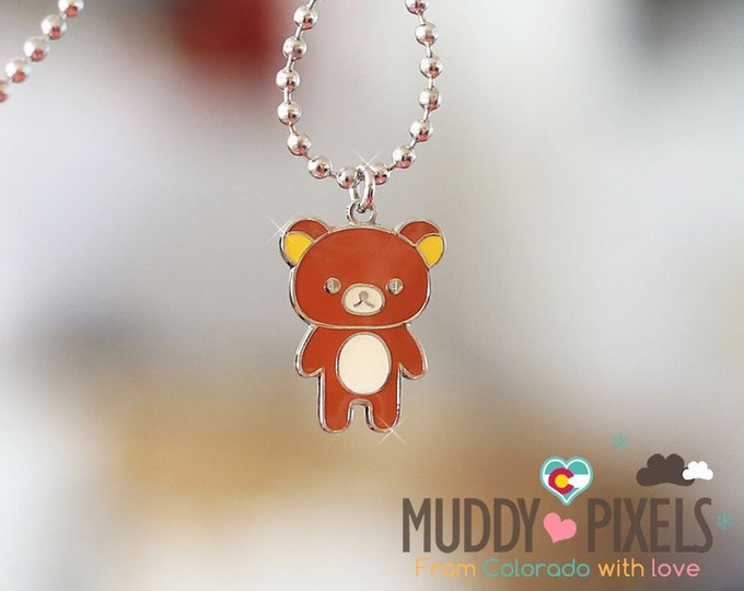 Rare! Rilakkuma Enamel Necklace! Rilakkuma and Friends