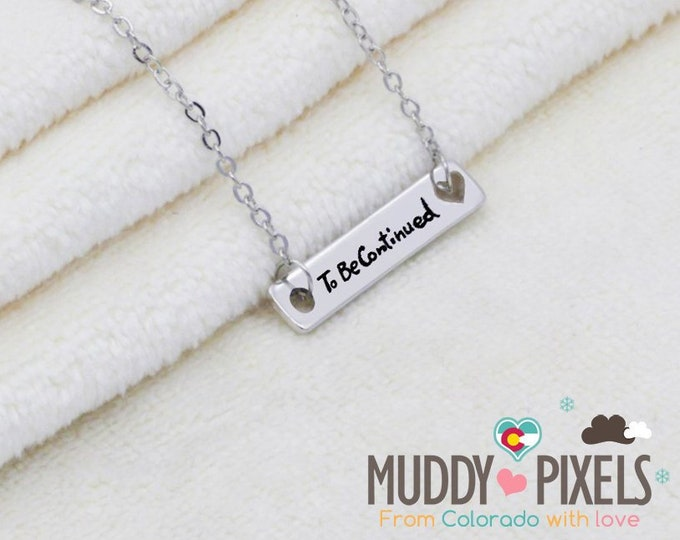 Tiny Semicolon Stamped Awareness To be continued Necklace - Pause Depression Mental Health