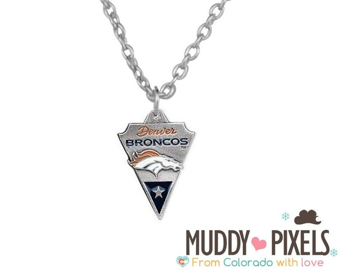 Denver Broncos Arrowhead shaped pewter style necklace
