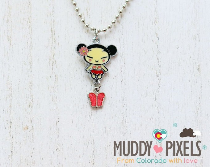 Rare! Pucca or Garu Enamel Charm Necklace!